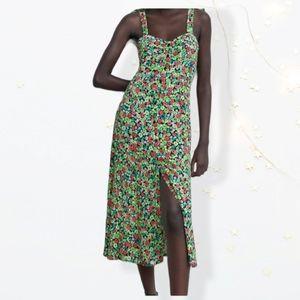 Zara V neck floral Midi dress with bow straps